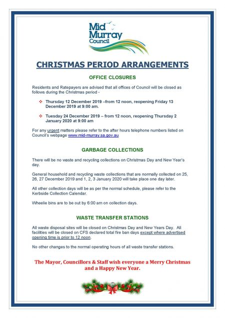 2019-2020 Christmas and New Year Office Closure